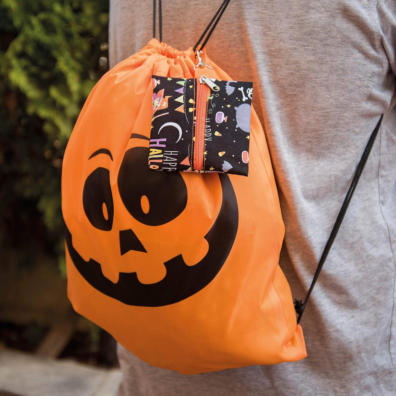 Quiero Cosas Mochila con cord/ón Estampado Halloween y Funda para mascarillas Tela Halloween.