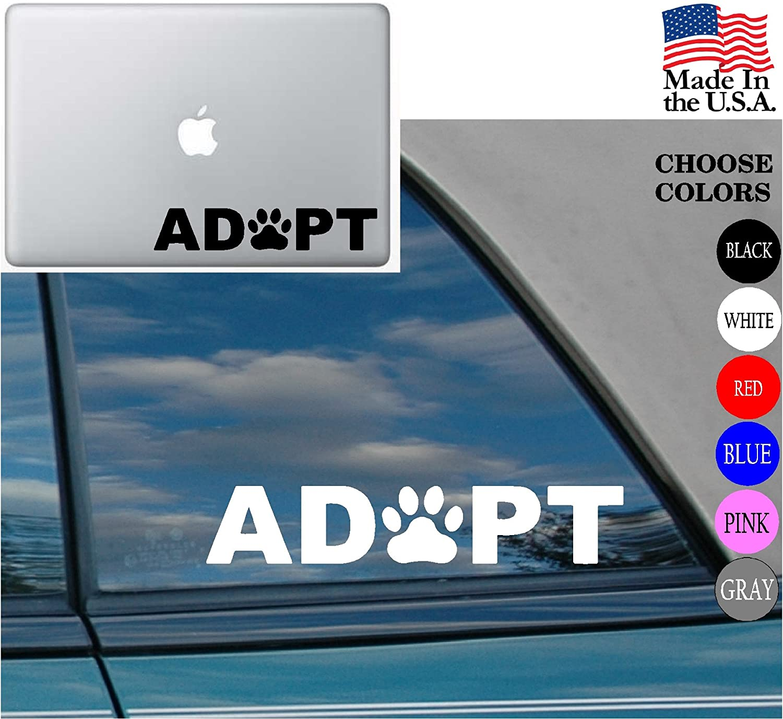 Animal lover Adopt Dog Cat Love Pet Vinyl Decal Sticker for Car Window Laptop 8 White PAW HEART