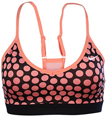Nike Womens Pro Indy Polka Dot Sports Bra Coral/Black (X-Small)