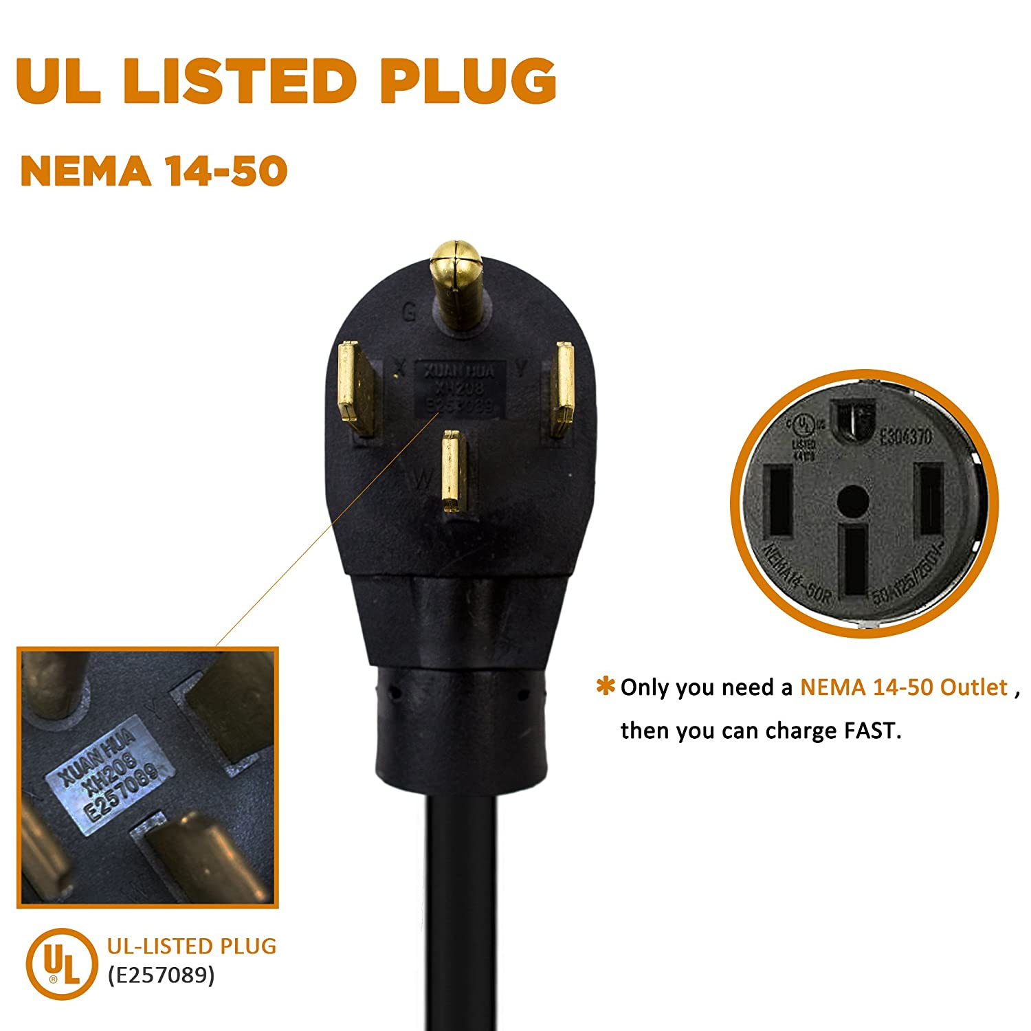Electric Vehicle Charger Plug-in EV Charging Station with NEMA 14-50P Upgrade Version 240 Volt, 25ft Cable, 32 Amp MUSTART Level 2 Portable EV Charger