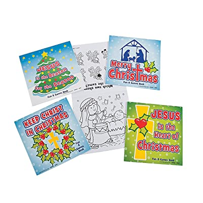 Fun Express - Christmas Religious Fun & Games Book 5x5 for Christmas - Stationery - Activity Books - Activity Books - Christmas - 48 Pieces: Toys & Games