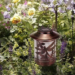 Solar Lantern Lights Outdoor Waterproof - Retro Metal LED 7 Lumens Hanging Solar Lanterns with Dragonfly Pattern for Garden Lawn Patio Landscape Decor