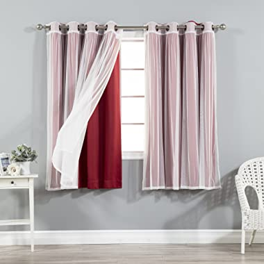 Best Home Fashion uMIXm Tulle Sheer Lace & Blackout 4 Piece Curtain Set - Antique Bronze Grommet Top - Cardinal Red - 52  W X 63  L - (2 Curtains and 2 Sheer Curtains)