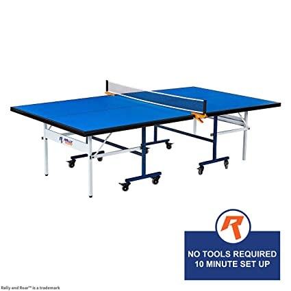 Indoor 15mm Table Tennis Ping Pong Table With Net Set By Rally Roar Quick Assembly Playback Mode Space Saving Storage Tournament Size 30mm