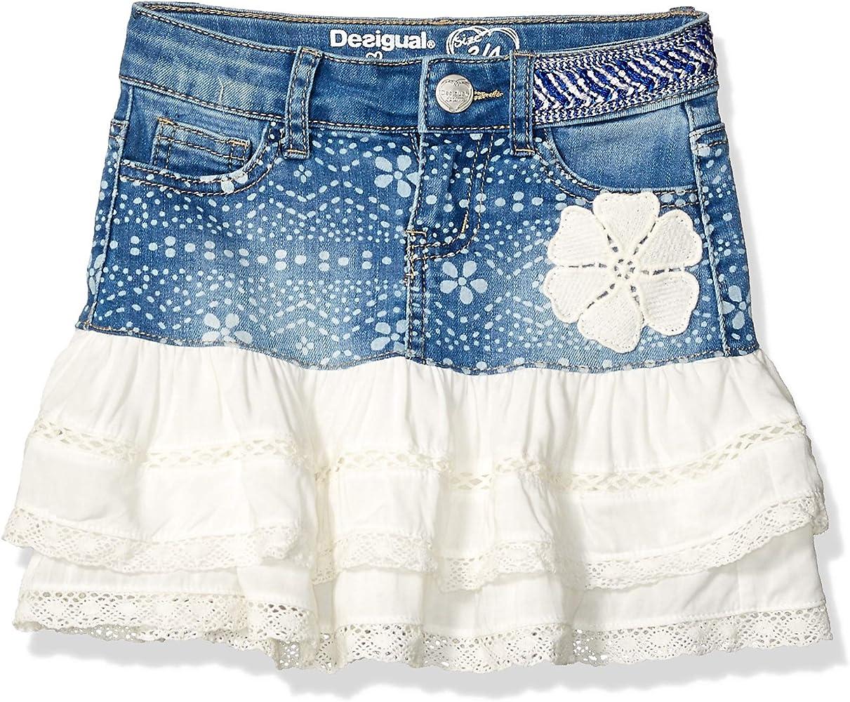 Desigual Girl Skirt Short (Fal_calella) Falda, Azul (Denim Ligth ...