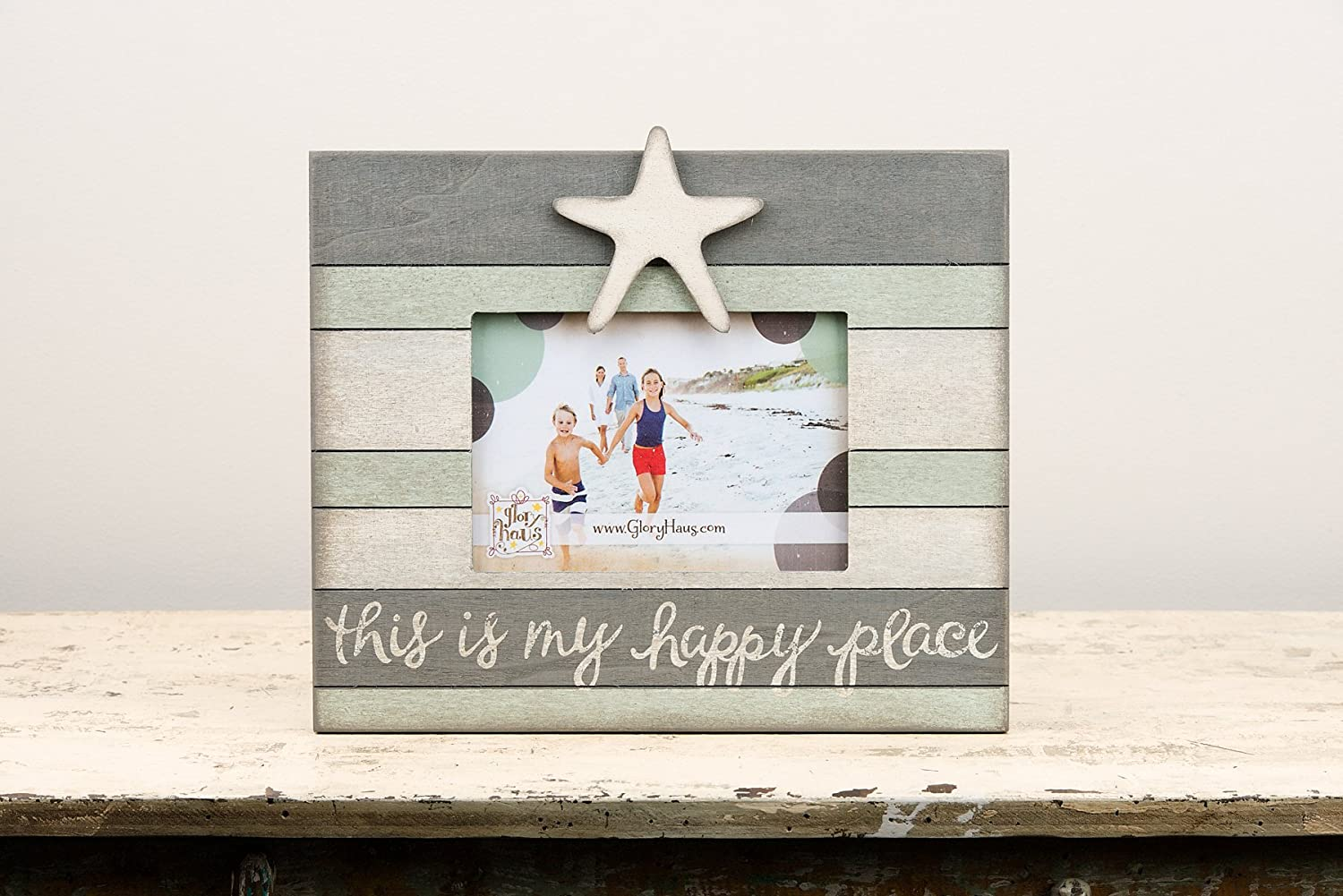 Glory Haus 3081005 Happy Place Starfish Vintage Frame Multicolor