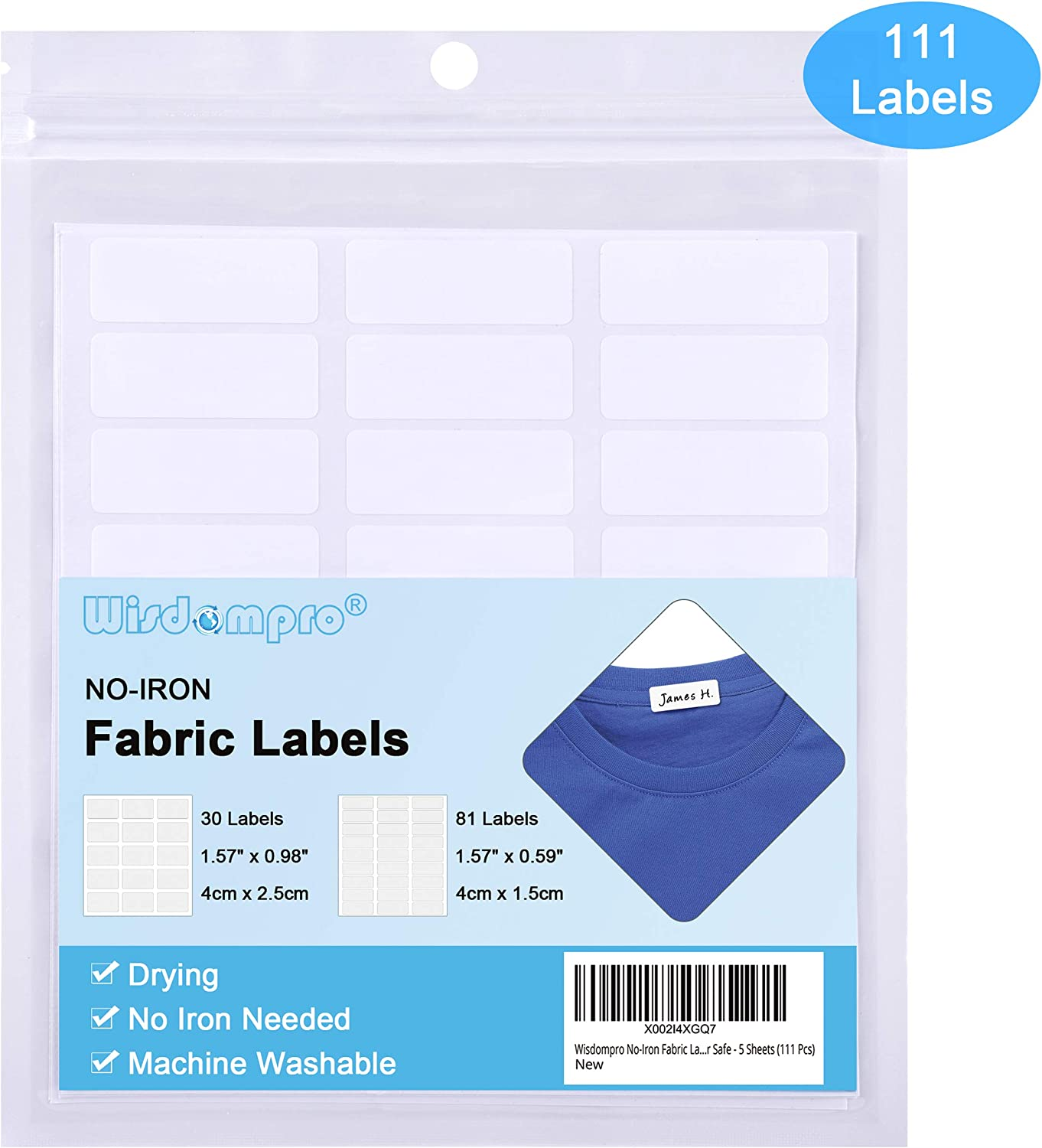 Wisdompro No-Iron Fabric Labels, Washer & Dryer Safe, Clothing Labels for Daycare, School and Nursing Home, Pack of 111 - Rectangle, 2 Sizes