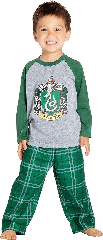 HARRY POTTER Los Chicos Raglan Camisa y Pantalones Pijama Plaid Set- (Slytherin, 2T)