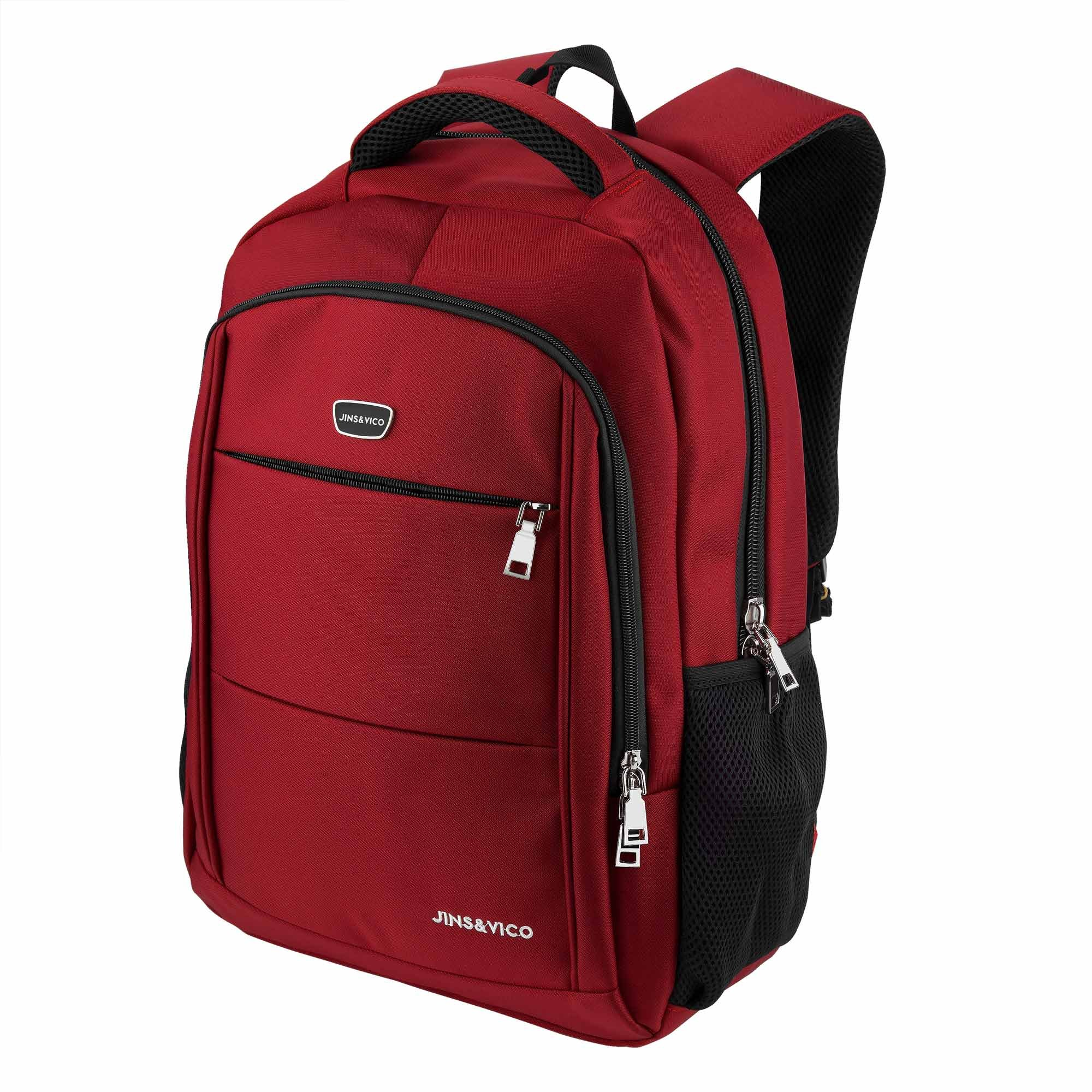 Laptop Backpack for Travel Business School Bag Multipurpose Use, Water Resistant Polyester Fabric Daypack Red