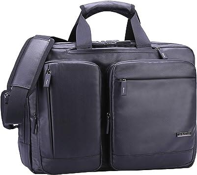 Ronts Convertible Briefcase Backpack for Men Business Multifunction Messenger Bag 17.3 Inch Laptop Bag Waterproof Nylon Travel Bag Shoulder Daypack Black