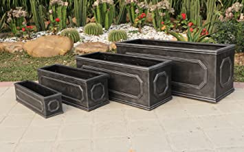 Chelsea Trough 70cm Long Faux Lead Effect Garden Planter. Fibreclay.  70x29x29cm Plant Pot Trays