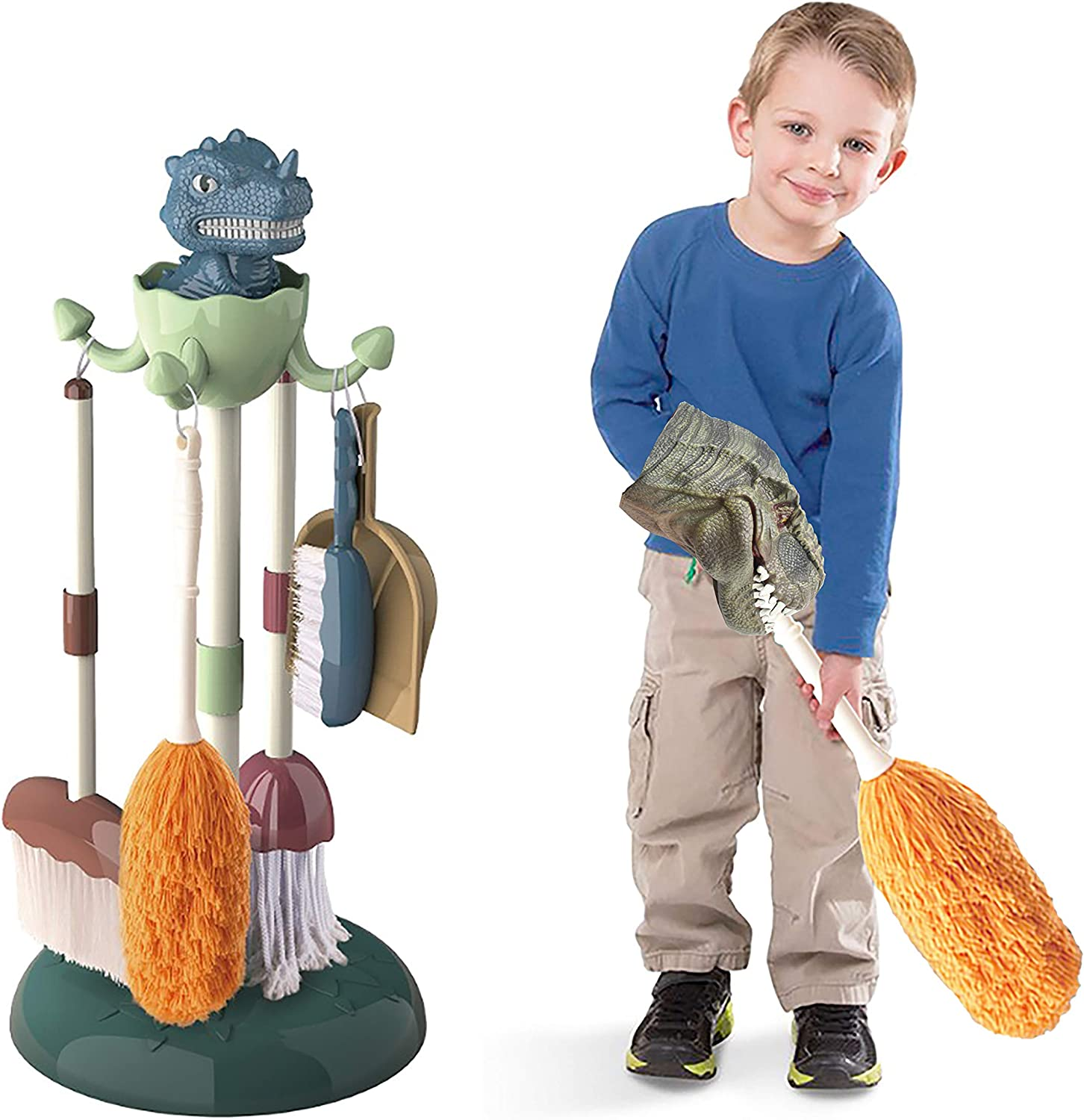Brush Duster T-Rex Dinosaur Hand Puppet and Housekeeping Toy Complete Set for Toddlers and Pre-School Kids Dustpan and Dinosaur Stand CONII Kids House Cleaning Kit with Mop Broom