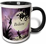 "3dRose mug_35696_4 ""Believe, Fairy With Dragonflies With Moon And Purple Sky"" Two Tone Black Mug, 11 oz, Multicolor"
