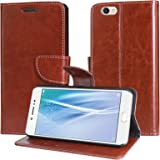 DMG Sturdy PU Leather Wallet Flip Book Cover Case for Vivo V5 (Brown)