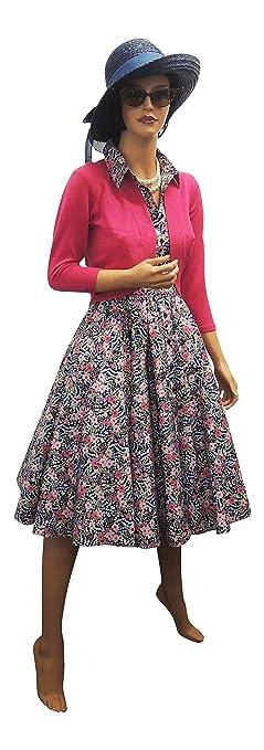Neue Orange oder blau Retro Vintage 1930er 1940er Hemd Tee Kleid in  Blumenmuster - BlueMix, 40: Amazon.de: Bekleidung