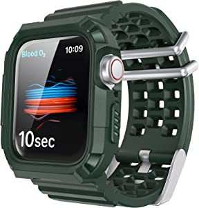 AhaStyle Breathable Band with Rugged Bumper for Apple Watch 44mm 42mm, Sport Strap Military Band Compatible with Apple Watch Series SE/6/5/4/3/2/1 (Midnight Green, 42mm/44mm)