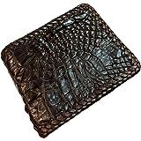 D'SHARK Luxury Crocodile Skin Leather Bi-fold Short Wallet (Dark Brown)