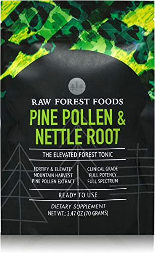 RAW Forest Foods – Pine Pollen and Stinging Nettle Root Extract Powder 70 Grams – Full Potency Extracts to Support Endocrine System, Boost Hormone Balance of Testosterone and Prostate Support