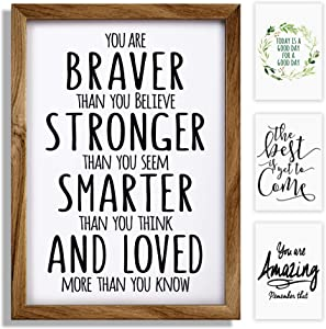 Inspirational Wall Decor Art Signs Positive Quotes Sayings, Rustic Office Decor Wood Framed - Modern Farmhouse Wall Hanging Art - Gifts Set of 4