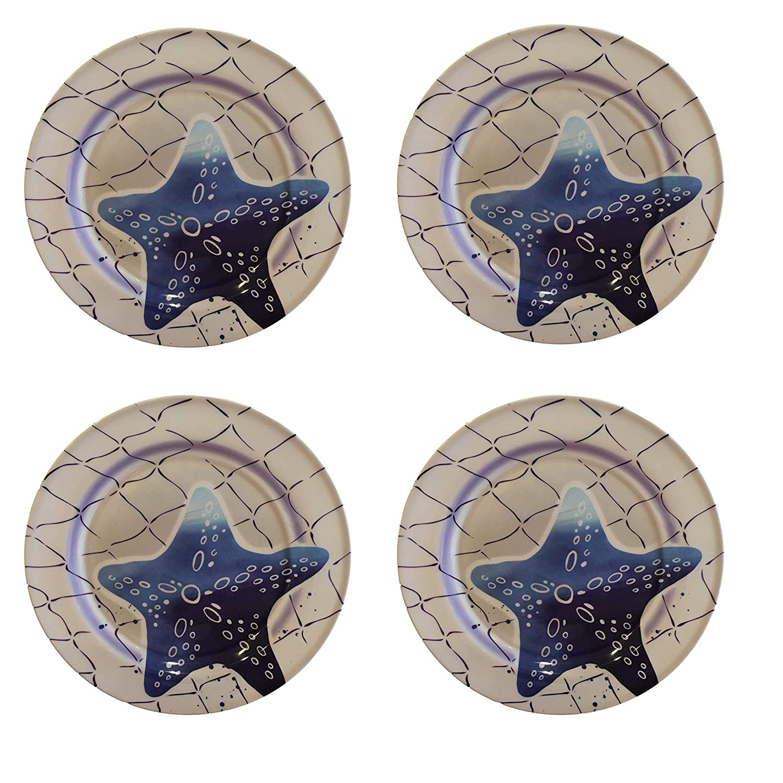 Crab /& Fish Designs Starfish Seahorse Set of 4 Plates, Crab Ocean Designs Melamine Plates /& Bowl Sets