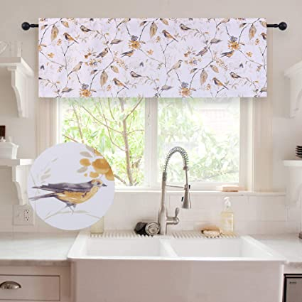 Amazon Com Holking Bird Printed Valances For Window Room Darkening