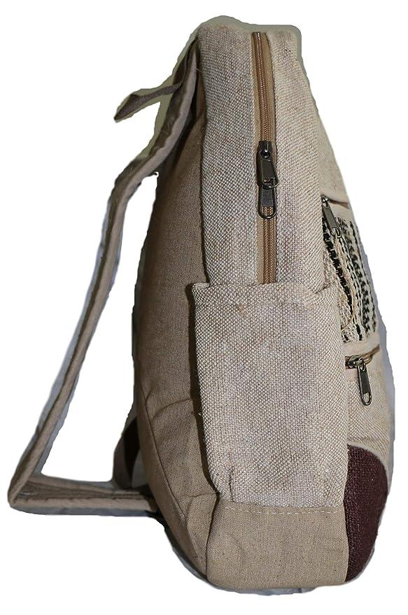 Mochila de crossbody / Bolso del hombro / Bolsa sling / Bolso de bandolera - hecho de fibra de cáñamo - hecho a mano en Nepal (made in Nepal), ...