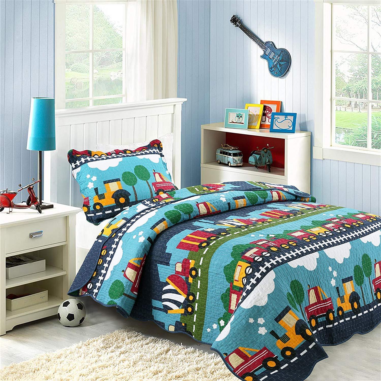 Amazon.com: HNNSI Cotton Kids Quilt Bedspread Set Queen Size Boys 3PCS,  Cute Train Comforter Toddler Teens Bedding Sets, Cartoon Pattern Bed Sheet  Sets: ...