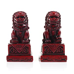 KLOUD City Pack of 2 Red Wooden Small Size Lions, Wooden Lion Statue for Home Decorations