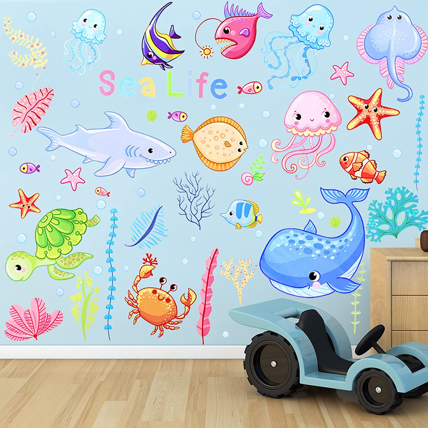 Outus 4 Sheets Colorful Ocean Life Wall Stickers Sea Creatures Wall Stickers Under The Sea Fish Jellyfish Removable Wall Decor for Kids Baby Bathroom Bedroom Living Room