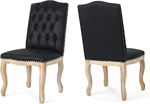Amazon Com Christopher Knight Home Sofia Traditional Upholstered Dining Chairs Black With Natural Finish Set Of 2 Chairs