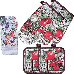 FSTIKO Juicy Apple Kitchen Linen Set Includes 2 Oven Mitt Heat Resistant Gloves, 2 Pot Holders, 2 Kitchen Towels Dishcloths Kitchen Decor for Cooking, Baking, Barbecue(Set of 6 Piece)