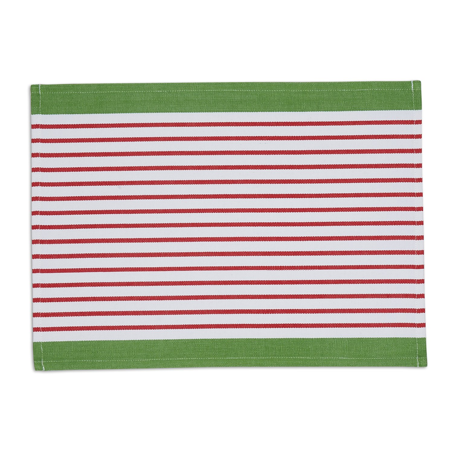 DII Washable Ribbed Cotton Placemat, Set of 6, Candy Apple Stripe - Perfect for Fall, Dinner Parties, BBQs, Christmas, Weddings and Everyday Use by DII