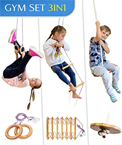 Jungle Gym Kids Play Set – Indoor Playground for Childrens 3-9 y.o. – Gymnastic kit: Disk Swing, Climbing Ladder, Gym Rings