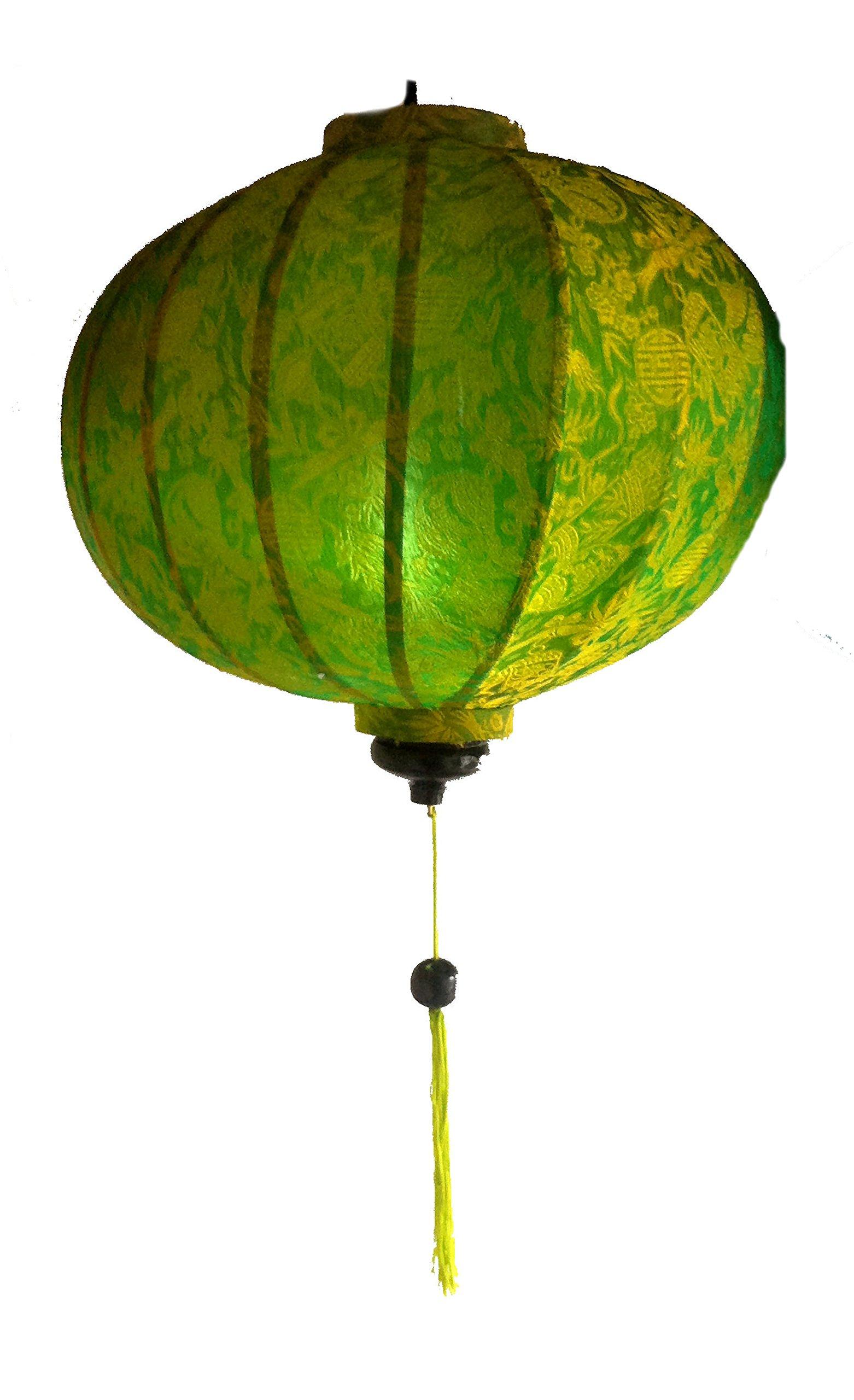 Vietnamese Silk & Bamboo Lampshade/Lantern (20 inch/50cm) (Green) by Terrapin Trading