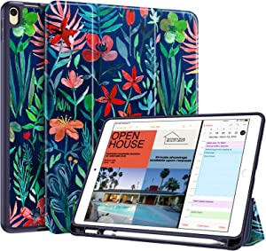 """Fintie SlimShell Case for iPad Air 3rd Gen 10.5"""" 2019 / iPad Pro 10.5 Inch 2017 with Built-in Pencil Holder - Lightweight Smart Stand Soft TPU Back Cover, Auto Wake/Sleep (Jungle Night)"""