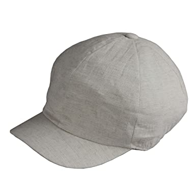 422dffa00c3 Image Unavailable. Image not available for. Color  Morehats Small Striped  Linen Look Short Brim Round Top Baseball Cap - Off White