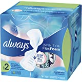 Always Infinity Size 2 Feminine Pads with Wings, Super Absorbency, Unscented, 16 Count