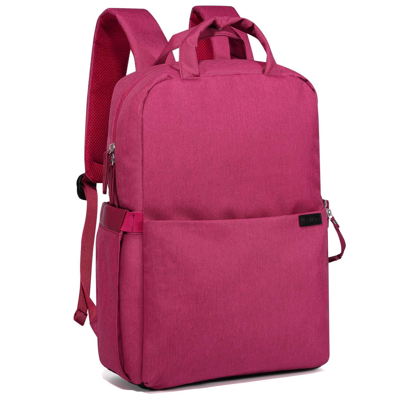 Kattee Shockproof Camera Bag DSLR Laptop Backpack Travel Rucksack for Nikon Canon Lens Tripod w/Rain Cover(Red)