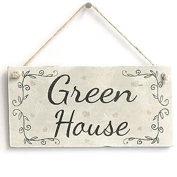 Amazon.com: meijiafei casa verde – rústico PVC cartel/Placa ...