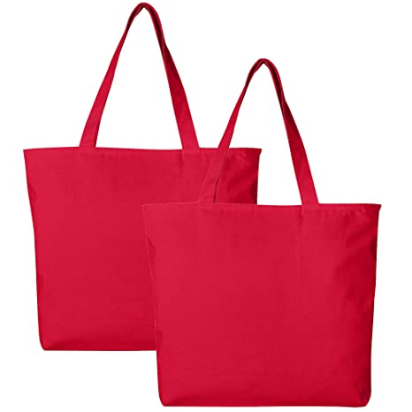 Amazoncom Pack Of 2 Heavy Duty Canvas Tote Bags With Zipper Top