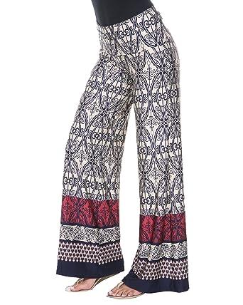 ca0afa7bb8 White Mark Women's Wide Leg Palazzo Pants Printed at Amazon Women's  Clothing store: