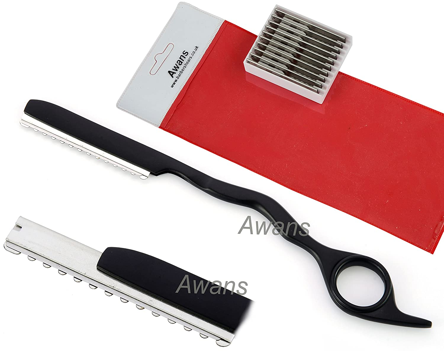 Hair Thinning Razor ,Hair Styling Razor, Feather Styling Razor, Thinner Razor, Black + 10 Spare Thinning Blades Awans Rz11