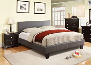 Furniture of America Lauren Leatherette Upholstered Platform Bed, Twin, Gray