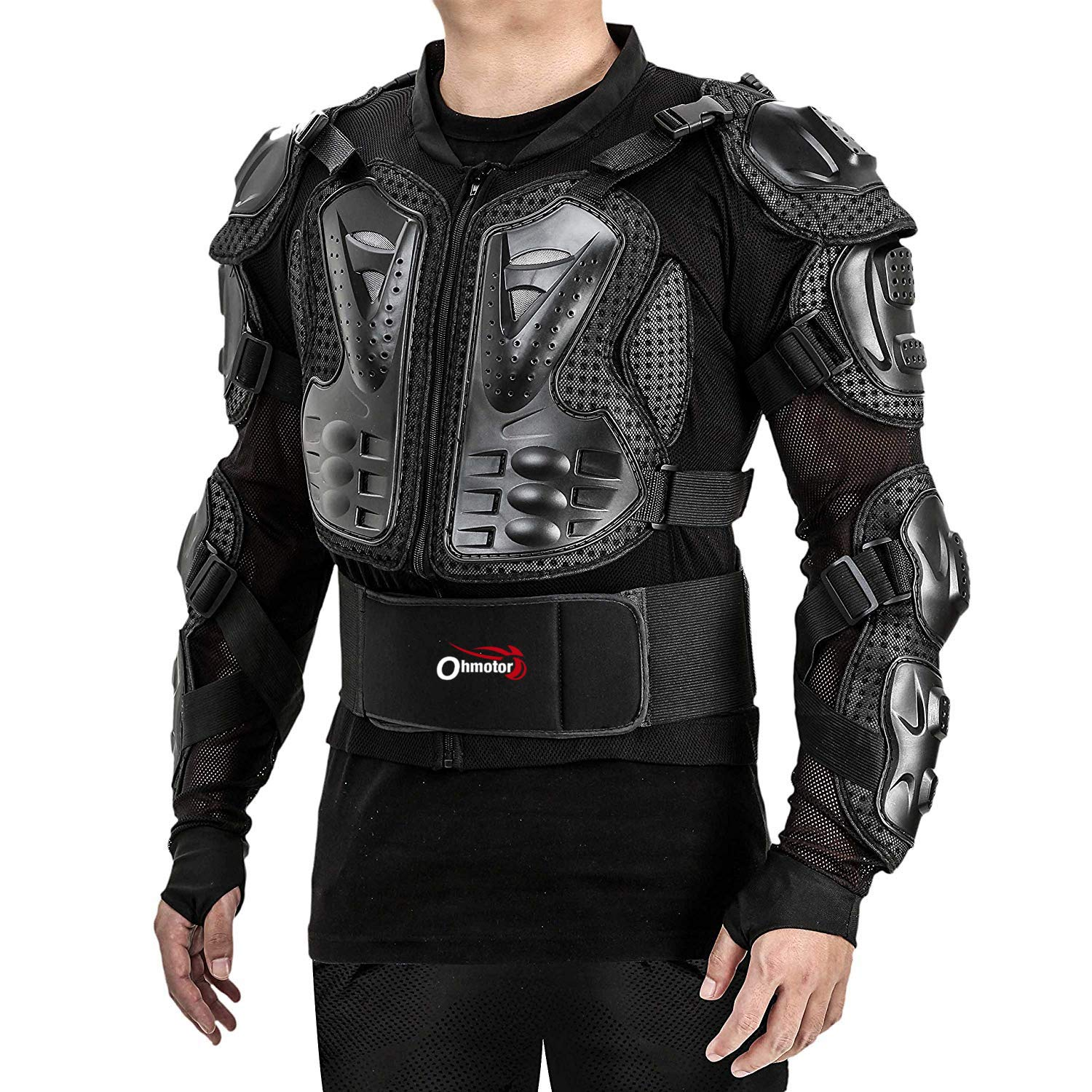 OHMOTOR Motorcycle Motorbike Full Body Armor Protector Pro Street Motocross ATV Guard Shirt Jacket with Back Protection Red, M