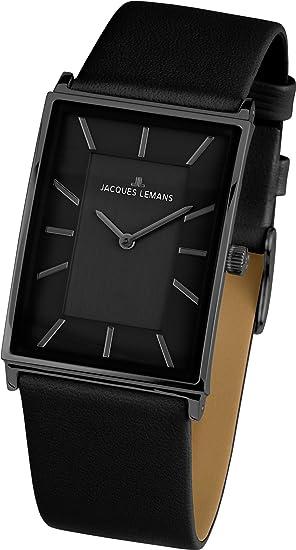JACQUES LEMANS York 1-1604C - Reloj de mujer de cuarzo, correa de piel color negro: Amazon.es: Relojes