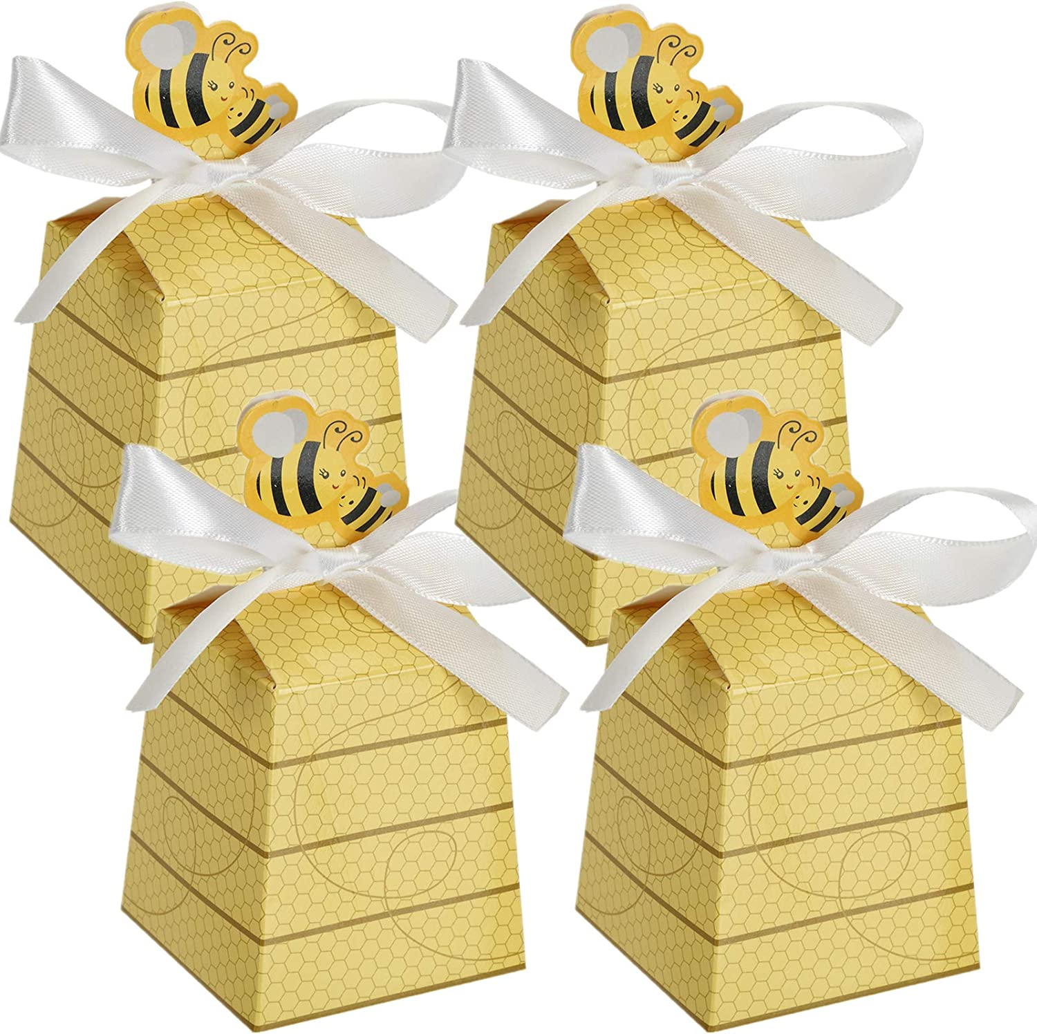 YOPAY 100 Pack Paper Treat Boxes, Mini Baby Favors Candy Gift Boxes with Ribbons, Small Cookie Chocolate Box for Baby Shower, Birthday, Wedding Favors Supplies, Yellow Beehive, 2.6 x 2.8 x 2.1 Inches