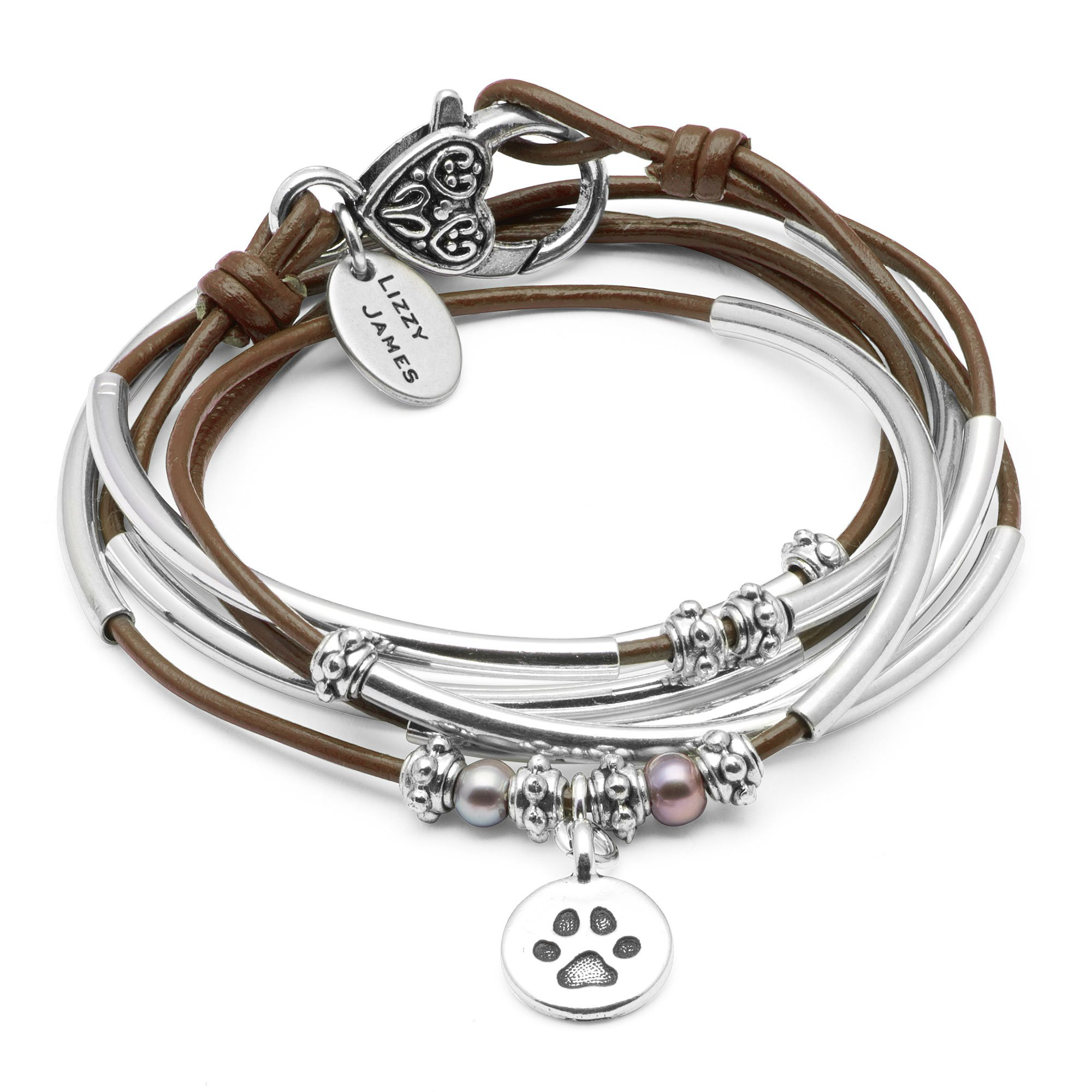 Lizzy James Charmer Gloss Chocolate Brown Leather Wrap Bracelet Necklace in Silver with Freshwater Pearls and Round Paw Charm (SMALL)