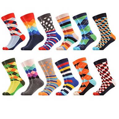de5ddd262051 WeciBor Men's Dress Cool Colorful Fancy Novelty Funny Casual Combed Cotton  Crew Socks Pack (EU0052