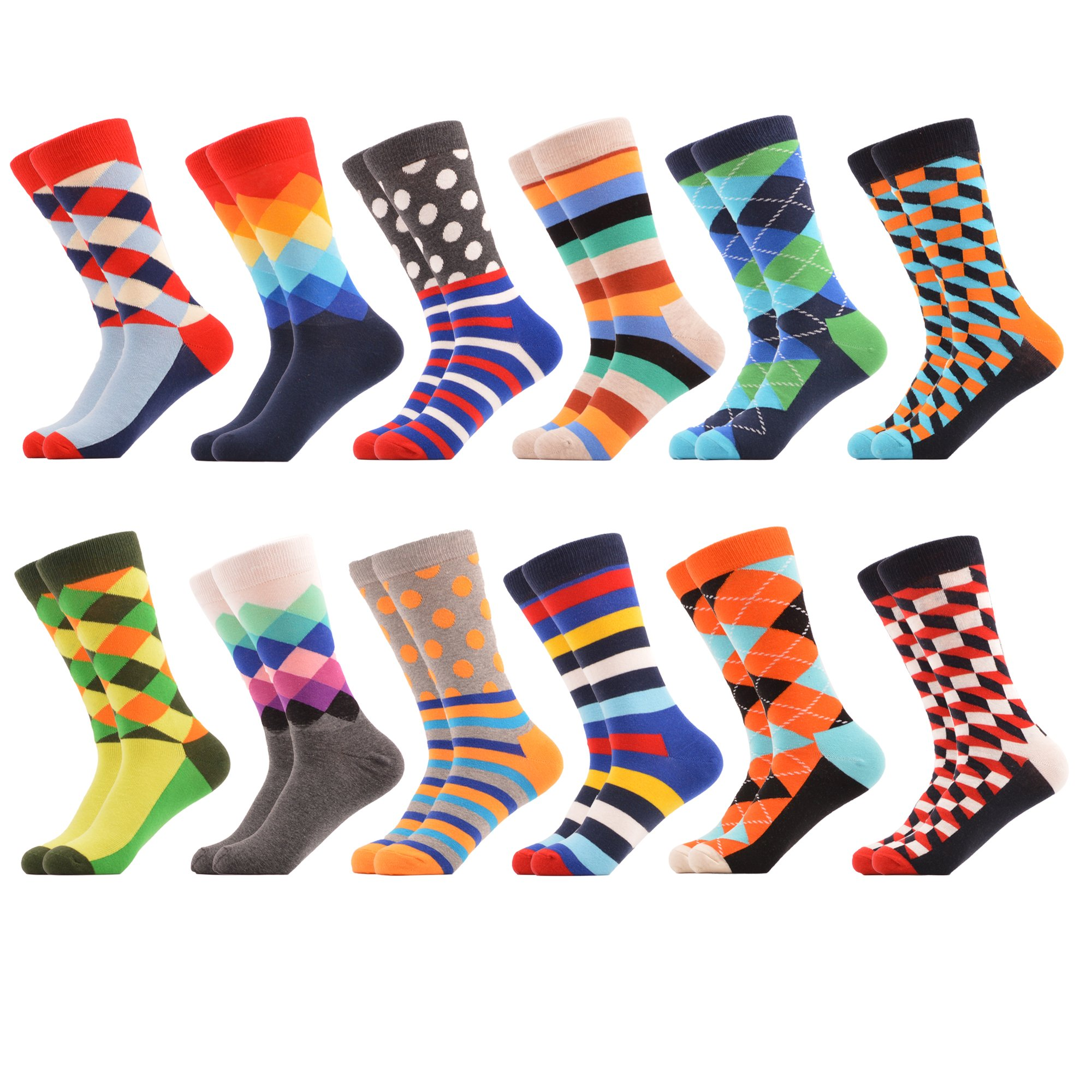 WeciBor Men's Dress Party Colorful Funny Cotton Crew Socks 12 Packs by WeciBor