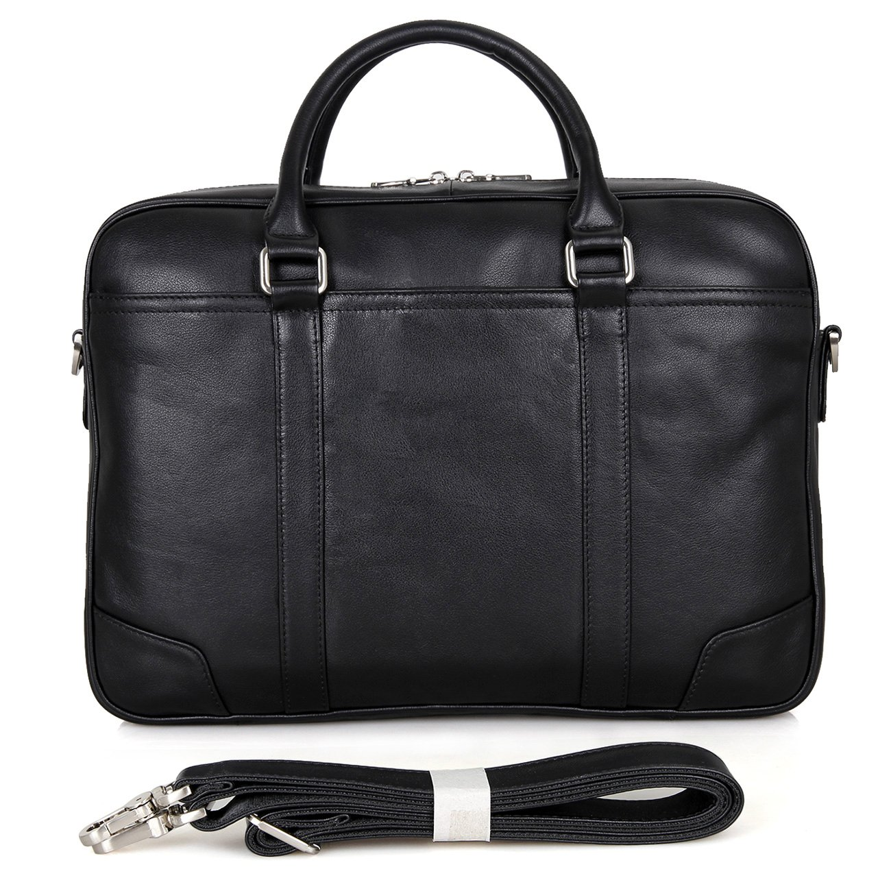 Polare 15.6'' Retro Genuine Leather Laptop Messenger Bag Office Briefcase